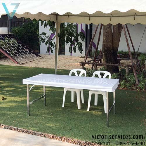 เช่าโต๊ะ - โต๊ะเหลี่ยมหน้าขาว(คลุมพลาสติกขาว) *กันเปื้อน 4