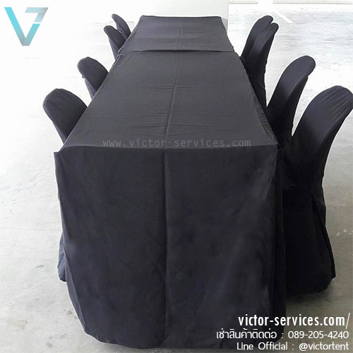 เช่าโต๊ะ - โต๊ะเหลี่ยมหน้าขาว(คลุมผ้ายาวถึงพื้น - สีดำ)
