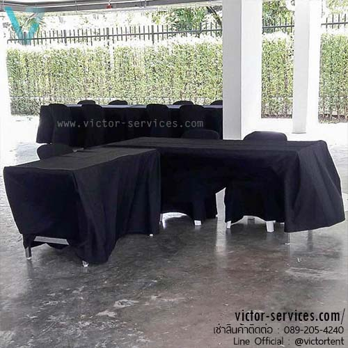 เช่าโต๊ะ - โต๊ะเหลี่ยมหน้าขาว(คลุมผ้ายาวถึงพื้น - สีดำ) 1