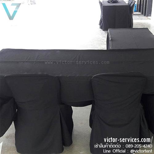 เช่าโต๊ะ - โต๊ะเหลี่ยมหน้าขาว(คลุมผ้ายาวถึงพื้น - สีดำ) 2