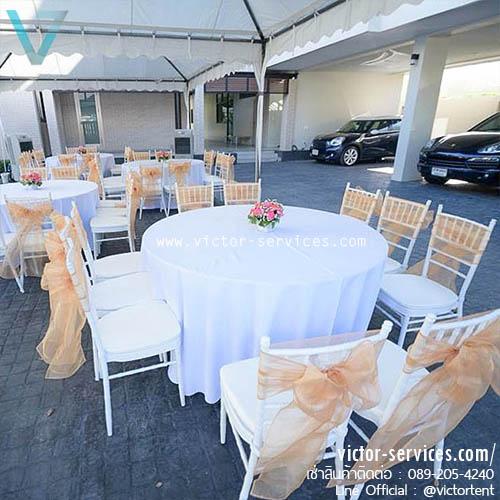 เช่าชุดโต๊ะกลม - เก้าอี้ชิวารีสีขาว(10ที่)+โบว์ทองผ้าแก้ว
