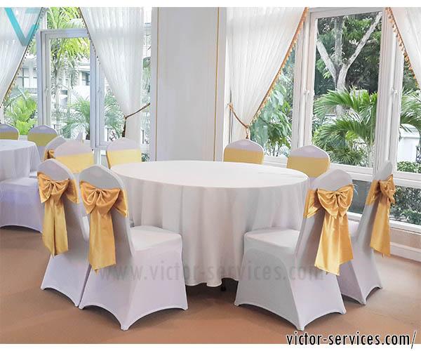 เช่าโต๊ะจีน -เก้าอี้บุนวมVvip คลุมผ้า+โบว์ทอง
