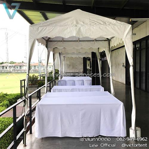 เช่าโต๊ะ - โต๊ะเหลี่ยมหน้าขาว(คลุมผ้ายาวถึงพื้น) *สวยงาม 6