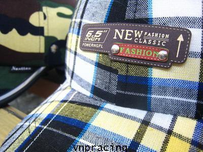 หมวกกันน๊อคมีแก๊ป nexttex ลายสก๊อต เหลือง-ฟ้า (เลิกผลิต)