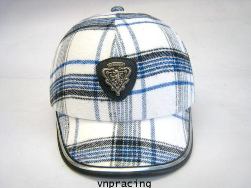 หมวกกันน๊อคมีแก๊ป nexttex ลายสก๊อต ขาว-ฟ้า(เลิกผลิต)