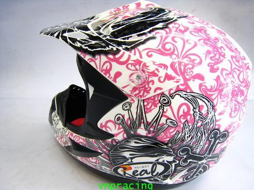 หมวกกันน๊อกวิบาก REAL Hopper-MX G10 ขาว-ชมพู คลิ๊กด้านใน (เลิกผลิต)