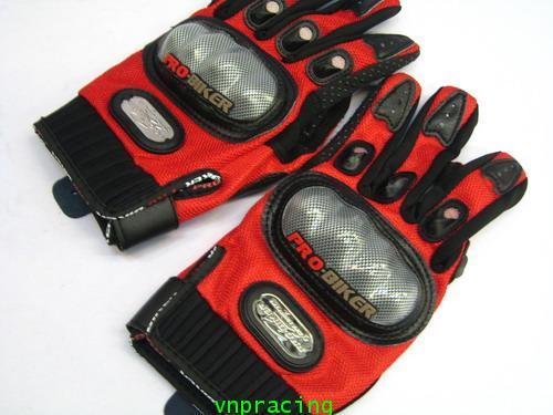 ถุงมือเคฟล่า นำเข้าอย่างดี Pro-Biker สีแดง ส่งฟรีทั่วไทย คลิ๊กด้านใน