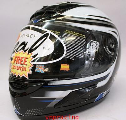 หมวกกันน็อต REAL 998 Graphic12 สี ดำ/น้ำเงิน (เลิกผลิต)