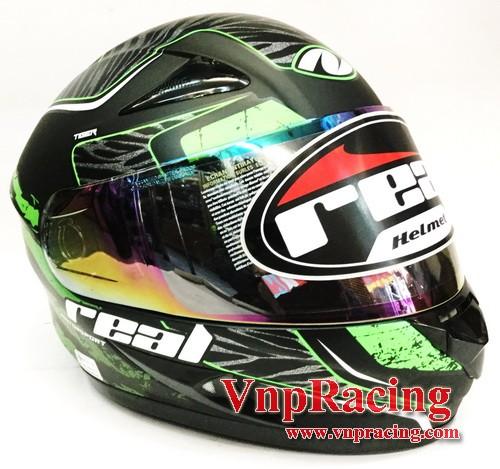 Real Helmet (เรียล) รุ่น ฮอเน็ท  TIGER สีเขียว