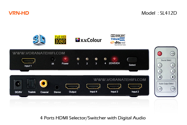 4 Ports Top Class HDMI Selector Switch with Digital Audio Extractor Output_SL412D