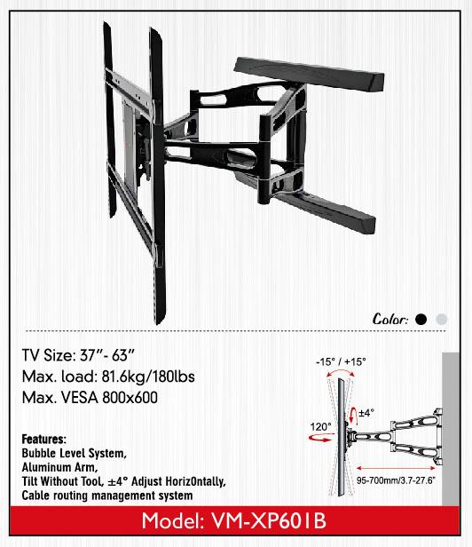 ขาแขวน LCD,LED,PLASMA TV 37-63 นิ้วรุ่น VM-XP601B02