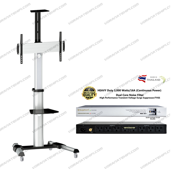 ENIX-F8300 Silver+SER-8 Telescopic Height Adjustable Single display 37-70 inch TV Stand
