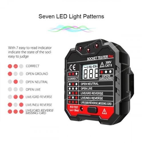ENIX EX16TH อุปกรณ์ตรวจสอบความถูกต้องของระบบไฟ เฟส และกราวนด์ สำหรับเต้าเสียบปลั๊กไฟ AC 220 โวลท์