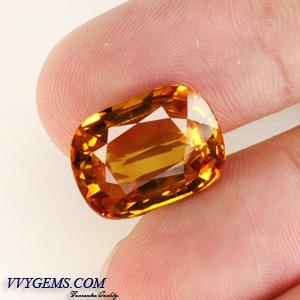บุษราคัม(Yellow Sapphire) 12.16 Cts. สีแม่โขงทอง เม็ดโต สะอาดIF [Video] 1
