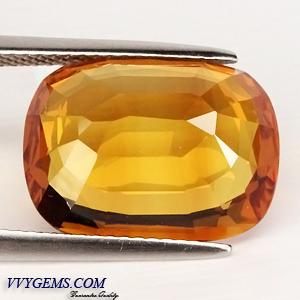 บุษราคัม(Yellow Sapphire) 12.16 Cts. สีแม่โขงทอง เม็ดโต สะอาดIF [Video] 2