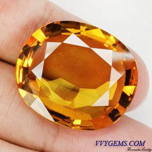 บุษราคัม(Yellow Sapphire) 33.98 Cts. แม่โขงทอง เม็ดใหญ่ IF-VVS
