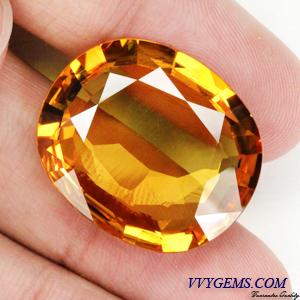 บุษราคัม(Yellow Sapphire) 33.98 Cts. แม่โขงทอง เม็ดใหญ่ IF-VVS 1