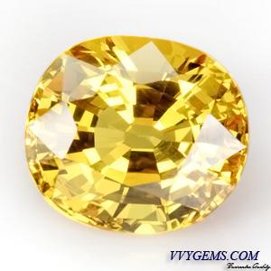 [GIT Certified]บุษราคัม(Yellow Sapphire) 6.33 ct เหลืองมะนาว ไฟเต็ม ไม่ผ่านการเผา