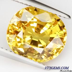 [GIT Certified]บุษราคัม(Yellow Sapphire) 6.33 ct เหลืองมะนาว ไฟเต็ม ไม่ผ่านการเผา 2