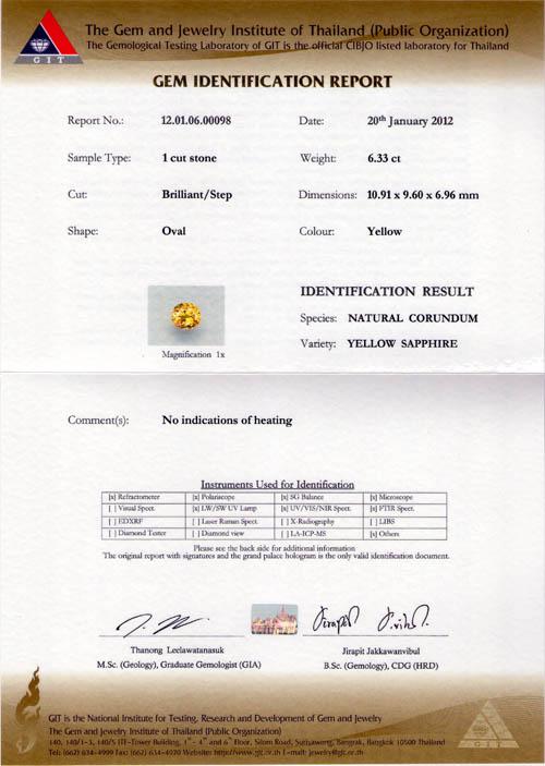 [GIT Certified]บุษราคัม(Yellow Sapphire) 6.33 ct เหลืองมะนาว ไฟเต็ม ไม่ผ่านการเผา 5