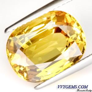 [GIT Certified]บุษราคัม(Yellow Sapphire) 8.49 ct เหลืองมะนาว ไฟดี ไม่ผ่านการเผา หายาก