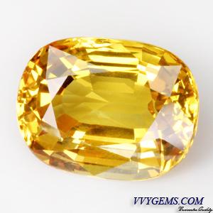 [GIT Certified]บุษราคัม(Yellow Sapphire) 8.49 ct เหลืองมะนาว ไฟดี ไม่ผ่านการเผา หายาก 1