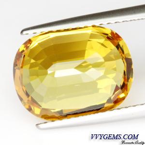 [GIT Certified]บุษราคัม(Yellow Sapphire) 8.49 ct เหลืองมะนาว ไฟดี ไม่ผ่านการเผา หายาก 2
