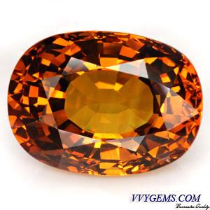 บุษราคัม (Yellow Sapphire) 30.55 Cts. สีแม่โขงเข้ม ไฟเต็ม เม็ดใหญ่ อลังการ