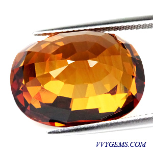 บุษราคัม (Yellow Sapphire) 30.55 Cts. สีแม่โขงเข้ม ไฟเต็ม เม็ดใหญ่ อลังการ 2