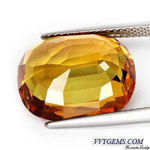 บุษราคัม(Yellow Sapphire) 10.10 กะรัต แม่โขงทอง IF 2