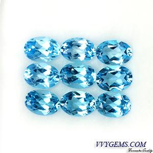 [[[ของหมด]]]เบบี้บลูโทแพซ (Baby Blue Topaz) 9 เม็ด 7x5 mm. [เหลือ 9 ชุด]