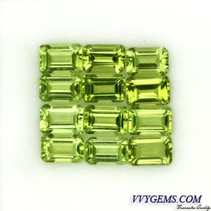 เพอริดอท(Peridot) สี่เหลี่ยม 12 เม็ด 6x4 mm [เหลือ 28 ชุด]