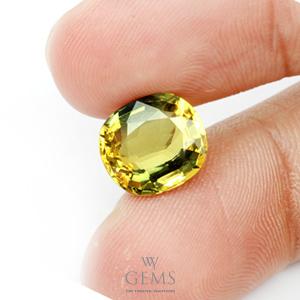 [GIT Certified]บุษราคัม(Yellow Sapphire) 6.06 กะรัต *ดิบ สีแบ่ง3โซน 2