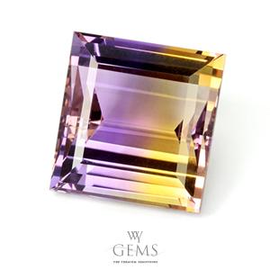 อเมทริน (Ametrine) 18.67 ct สองสี เหลือง-ม่วง