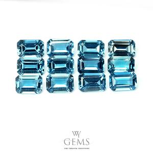 ลอนดอนบลูโทแพซ(London Blue Topaz) สี่เหลี่ยม 6x4 mm 12 เม็ด [เหลือ 20 ชุด]