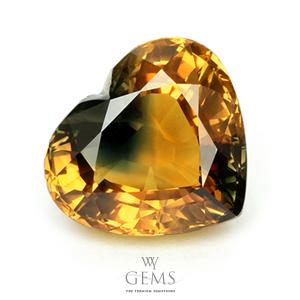บุษราคัม(Yellow Sapphire) 10.54 กะรัต หัวใจสองสี