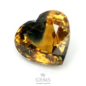 บุษราคัม(Yellow Sapphire) 10.54 กะรัต หัวใจสองสี 1