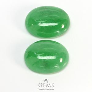 หยกพม่า (Jadeite Jade) 2 เม็ด 13.61 ct คู่ต่างหู 1