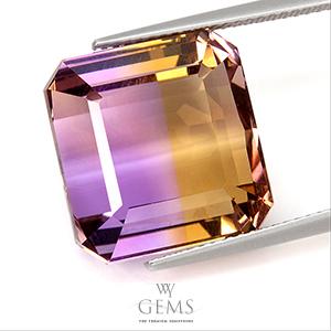 อเมทริน (Ametrine) 20.75 ct สองสี เหลือง-ม่วง