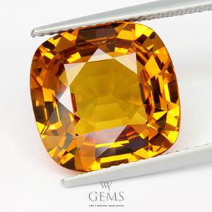 [GIT Certified]บุษราคัม(Yellow Sapphire) 10.08 กะรัต ทรงคุชชั่น แม่โขงอ่อน IF