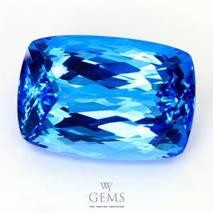 สวิสบลูโทแพซ (Swiss Blue Topaz) 39.70 ct สีพิเศษ