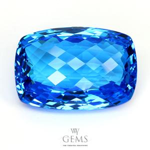 สวิสบลูโทแพซ (Swiss Blue Topaz) 38.79 ct สีพิเศษ หน้าเหลี่ยมตาข่าย