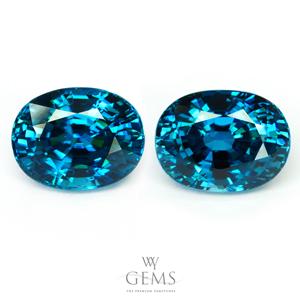 [BGL Certified]คู่ต่างหูเพทาย (Blue Zircon) น้ำหนักรวม 17.20 ct ฟ้าเข้มสวย IF