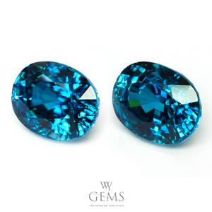 [BGL Certified]คู่ต่างหูเพทาย (Blue Zircon) น้ำหนักรวม 17.20 ct ฟ้าเข้มสวย IF 1