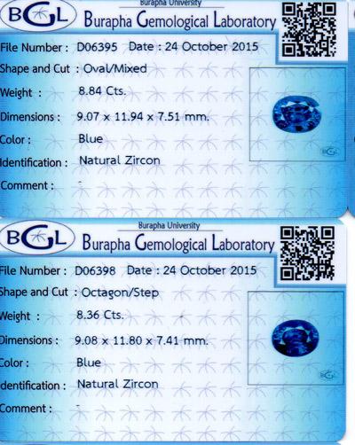 [BGL Certified]คู่ต่างหูเพทาย (Blue Zircon) น้ำหนักรวม 17.20 ct ฟ้าเข้มสวย IF 3