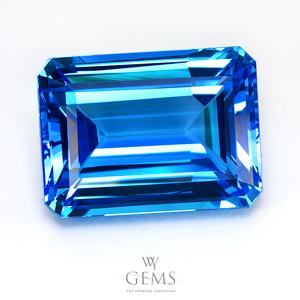 สวิสบลูโทแพซ (Swiss Blue Topaz) 53.71 ct สีพิเศษ