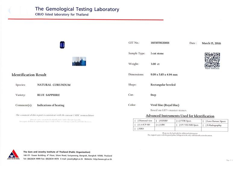 [GIT Certified]ไพลิน(Blue Sapphire) 3.00 กะรัต สีรอยัลบลู สี่เหลี่ยมตัดมุม 3