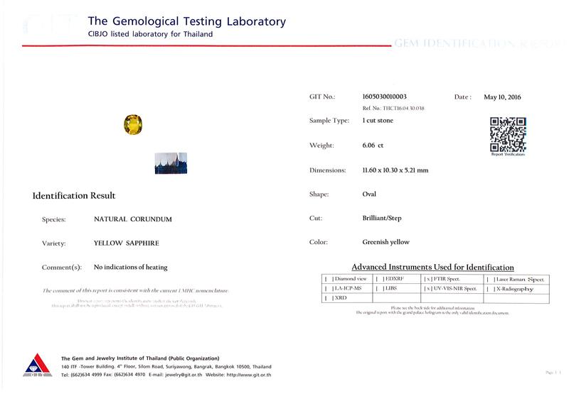 [GIT Certified]บุษราคัม(Yellow Sapphire) 6.06 กะรัต *ดิบ สีแบ่ง3โซน 3