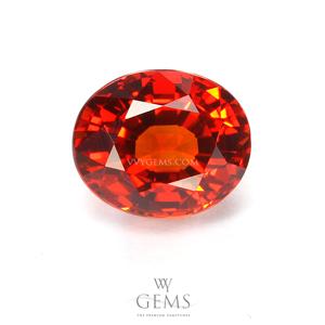 [[[GLC Certified]]]ซองเจีย(Orange Sapphire) 3.17 กะรัต ส้มแดง ไฟเต็ม