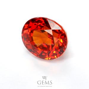 [[[GLC Certified]]]ซองเจีย(Orange Sapphire) 3.17 กะรัต ส้มแดง ไฟเต็ม 1
